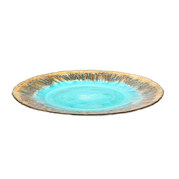 フラッシュ プレート 28cm ターコイズブルー&ゴールド