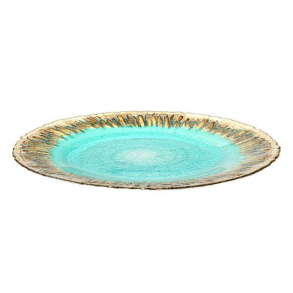 フラッシュ プレート 33cm ターコイズブルー&ゴールド